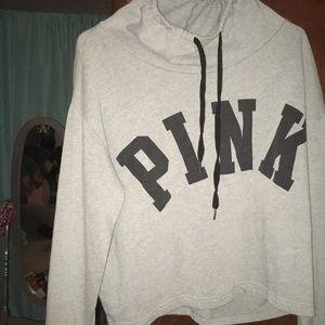 """grey """"pink"""" hoodie"""
